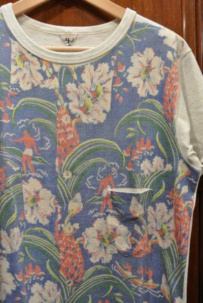 画像2: (クリックポスト198円も可)(USED) FilMelange フィルメランジェ アロハプリント ポケットTシャツ(4) 日本製