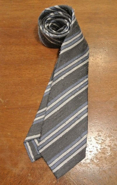 画像1: 【クリックポスト198円も可】kiton キートン シルク ネップ生地 ストライプネクタイ(Gray) イタリア製 定価¥31900
