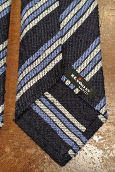 画像3: 【クリックポスト198円も可】kiton キートン シルク ネップ生地 ストライプネクタイ(Navy) イタリア製 定価¥31900