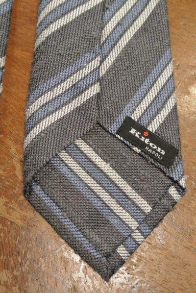 画像3: 【クリックポスト198円も可】kiton キートン シルク ネップ生地 ストライプネクタイ(Gray) イタリア製 定価¥31900