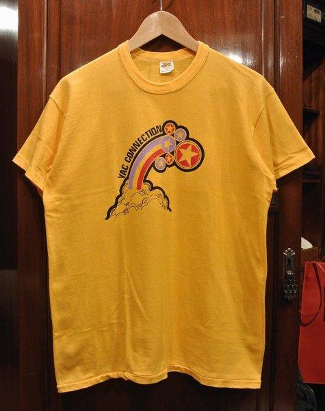 画像1: 【クリックポスト198円も可】(USED) 70s RUSSEL ATHLETIC プリントTシャツ アメリカ製 (Yellow/L) 中古 ビンテージ  (1)