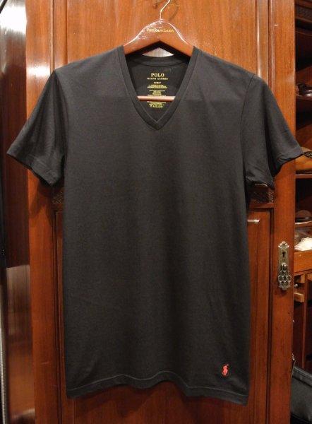 画像1: SALE.【クリックポスト198円も可】ポロラルフローレン 裾ポニーワンポイント刺繍  VネックTシャツ【Black/S】新品 並行輸入 (1)