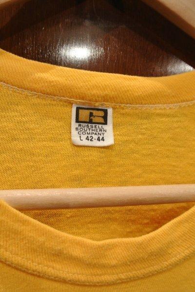 画像2: 【クリックポスト198円も可】(USED) 70s RUSSEL SOUTHERN COMPANY 両面プリントTシャツ アメリカ製 (Yellow/L) 中古 ビンテージ