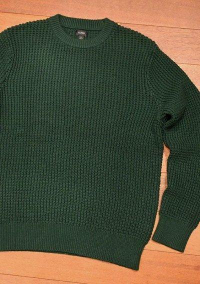 画像2: J.CREW (ジェイクルー) コットン ワッフル編み クルーネックセーター(Green/L) ニット 新品 並行輸入
