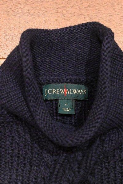 画像3: J.CREW (ジェイクルー) コットン ケーブル編み ハイネックセーター(Navy/S) ニット 新品 並行輸入