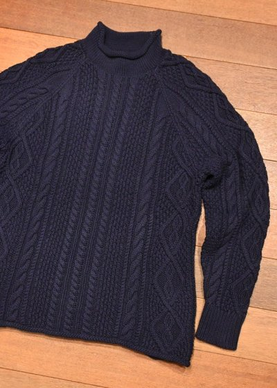 画像1: J.CREW (ジェイクルー) コットン ケーブル編み ハイネックセーター(Navy/S) ニット 新品 並行輸入