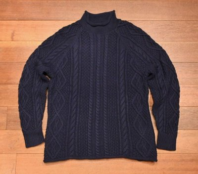 画像2: J.CREW (ジェイクルー) コットン ケーブル編み ハイネックセーター(Navy/S) ニット 新品 並行輸入