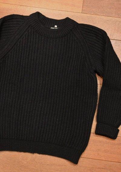 画像2: USED PeterStorm ピーターストーム 畔編み クルーネックセーター(Black/S) 中古 ビンテージ 90s