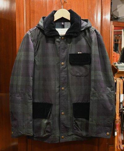 画像1: (EXCELLENT USED) MAISON KITSUNE ブラックウォッチ オイルドジャケット フランス製(S) 中古 メゾンキツネ