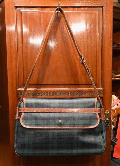 画像3: Excellent used 90s ポロラルフローレン PVC×レザー ブラックウォッチ柄の大きめショルダーバッグ 美品 中古 ビンテージ