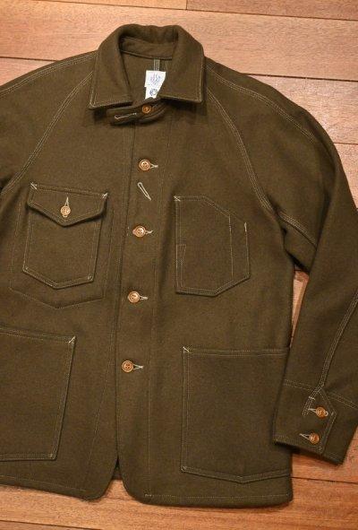 画像2: (EXCELLENT USED) POST O'ALLS ポストオーバーオールズ ウールメルトンカバーオールジャケット(OLIVE/M) 中古 アメリカ製