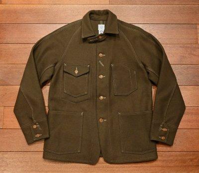 画像1: (EXCELLENT USED) POST O'ALLS ポストオーバーオールズ ウールメルトンカバーオールジャケット(OLIVE/M) 中古 アメリカ製