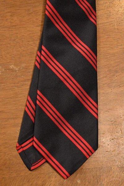 画像2: 【クリックポスト198円も可】BROOKS BROTHERS BLACK FLEECE (ブルックスブラザーズ ブラックフリース) シルク×コットン ストライプ ネクタイ (NAVY*RED) 新品 デッドストック