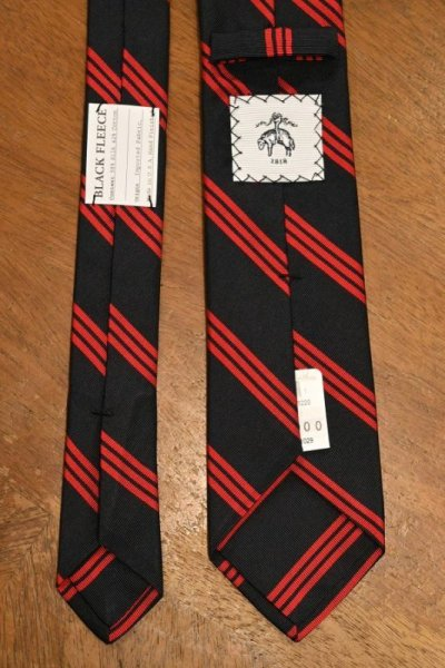 画像3: 【クリックポスト198円も可】BROOKS BROTHERS BLACK FLEECE (ブルックスブラザーズ ブラックフリース) シルク×コットン ストライプ ネクタイ (NAVY*RED) 新品 デッドストック