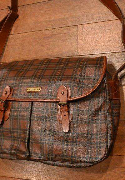 画像2: USED 90s ポロラルフローレン PVC×レザー タータンチェック柄の大きめショルダーバッグ 美品 中古 ビンテージ