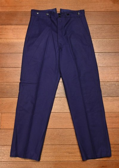 画像1: 50s デッドストック SAVO フレンチ ワークパンツ コットンツイル シンチバック仕様 (BLUE/42×76) Vintage French Work Pants Deastock