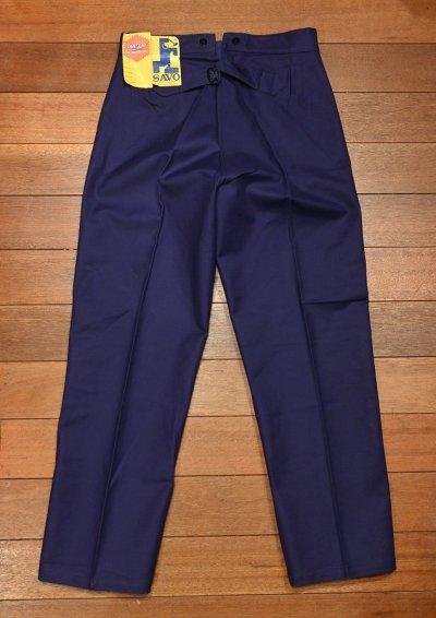 画像2: 50s デッドストック SAVO フレンチ ワークパンツ コットンツイル シンチバック仕様 (BLUE/42×76) Vintage French Work Pants Deastock