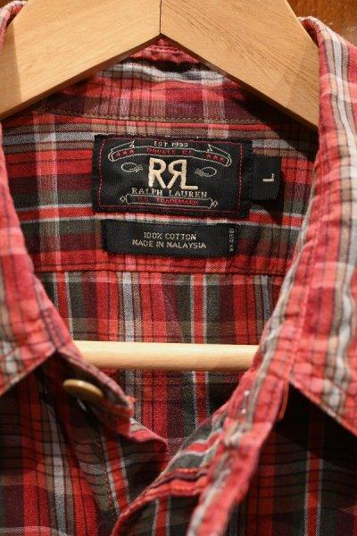 画像3: 【クリックポスト198円も可】(USED)RRL ラルフローレン チェック 半袖 ワークシャツ【Red/L】中古
