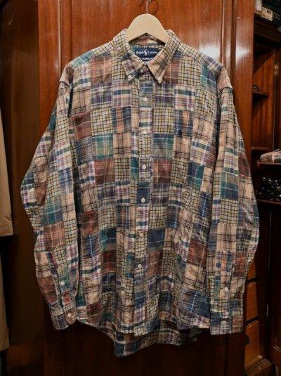 画像1: (USED)ポロラルフローレン マドラスパッチワークシャツ【Classic Fit/L】中古