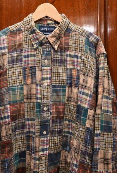 画像2: (USED)ポロラルフローレン マドラスパッチワークシャツ【Classic Fit/L】中古