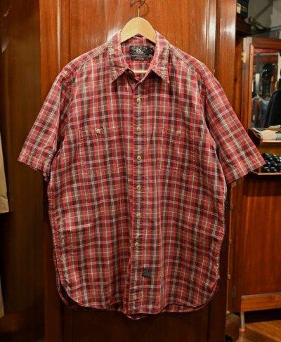 画像1: 【クリックポスト198円も可】(USED)RRL ラルフローレン チェック 半袖 ワークシャツ【Red/L】中古