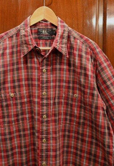 画像2: 【クリックポスト198円も可】(USED)RRL ラルフローレン チェック 半袖 ワークシャツ【Red/L】中古