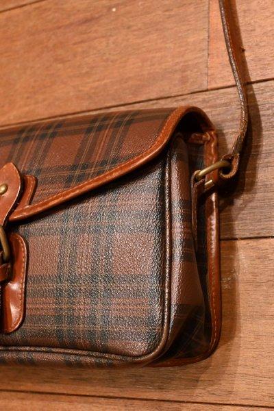 画像2: (USED) 90s ポロラルフローレン PVC×レザー タータンチェック柄のショルダーバッグ ポシェット (BROWN) 中古 ビンテージ