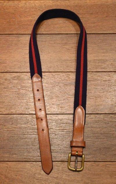 画像1: 【クリックポスト198円も可】80-90s (VTG/USED) BROOKS BROTHERS (ブルックスブラザーズ) コットン×レザー リボンベルト イングランド製 (NAVY*RED/30) 中古 ビンテージ