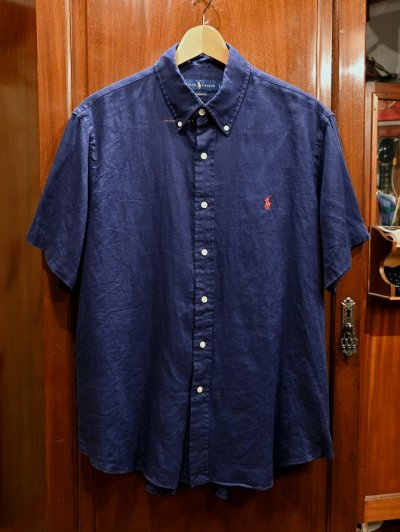 画像1: 【クリックポスト198円も可】USED ポロラルフローレン リネン ボタンダウンシャツ 半袖 CLASSIC FIT (NAVY/L) 中古
