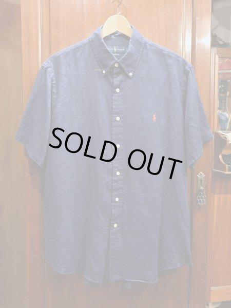 画像1: 【クリックポスト198円も可】USED ポロラルフローレン リネン ボタンダウンシャツ 半袖 CLASSIC FIT (NAVY/L) 中古 (1)