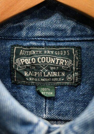 画像3: (VTG/USED) 80-90s POLO COUNTRY ポロカントリー デニム ボタンダウンシャツ【M】ビンテージ 中古