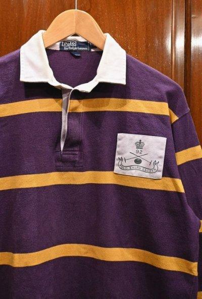画像2: (VTG/USED) '92 Polo Ralphlauren ポロラルフローレン ラグビーシャツ【Purple/M】ラグビージャージ 中古