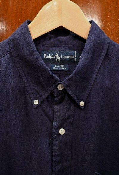 画像3: (USED) Polo Ralphlauren ポロラルフローレン リネン100% B.Dシャツ BLAIRE【NAVY/XL】中古