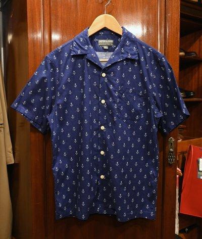 画像1: 【クリックポスト198円も可】USED EMPIRE&SONS (エンパイアアンドサンズ) アンカー総柄 オープンカラーシャツ アメリカ製 (Navy/M) 美品中古