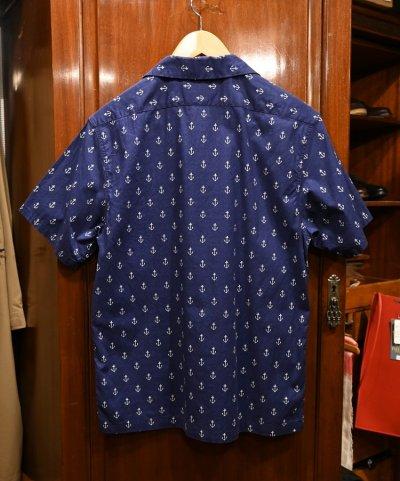 画像3: 【クリックポスト198円も可】USED EMPIRE&SONS (エンパイアアンドサンズ) アンカー総柄 オープンカラーシャツ アメリカ製 (Navy/M) 美品中古