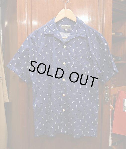 画像1: 【クリックポスト198円も可】USED EMPIRE&SONS (エンパイアアンドサンズ) アンカー総柄 オープンカラーシャツ アメリカ製 (Navy/M) 美品中古 (1)
