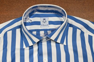 画像3: 新品 未使用品 ERRICO FORMICOLA セミワイドカラー ストライプドレスシャツ(BLUE×WHITE/38) イタリア製 定価37400