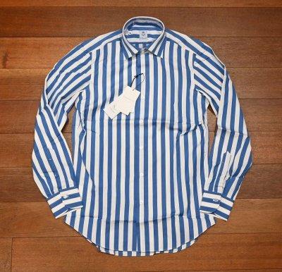 画像2: 新品 未使用品 ERRICO FORMICOLA セミワイドカラー ストライプドレスシャツ(BLUE×WHITE/38) イタリア製 定価37400
