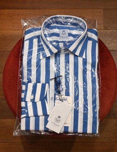画像1: 新品 未使用品 ERRICO FORMICOLA セミワイドカラー ストライプドレスシャツ(BLUE×WHITE/38) イタリア製 定価37400