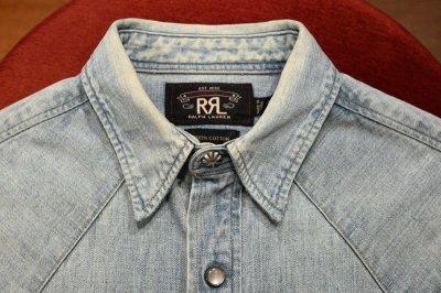 画像2: (USED) RRL ラルフローレン デニム ウェスタンシャツ コンチョボタン【XS】中古