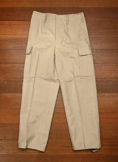 画像1: 90s デッドストック ドイツ軍 ホワイトモールスキン カーゴパンツ Deadstock German Military Moleskin Cargo Pants (BEIGE/SIZE :1)