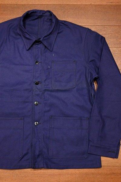 画像2: 50s デッドストック フレンチ ワークジャケット コットンツイル (INK BLUE) Vintage French Work Jacket Deastock E