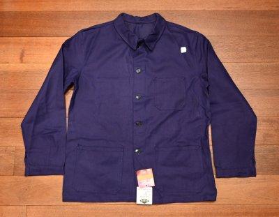 画像1: 50s デッドストック フレンチ ワークジャケット コットンツイル (INK BLUE/46) Vintage French Work Jacket Deastock G