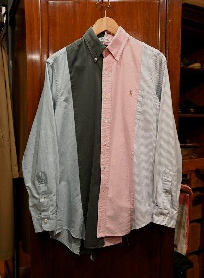 画像1: クリックポスト198円も可 (USED) KNIFE WING 4 Columms Shirts ポロラルフローレン リメイクシャツ(M) 中古